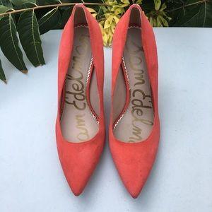 Sam Edelman Red Orange Suede Pointed Toe Pumps 11